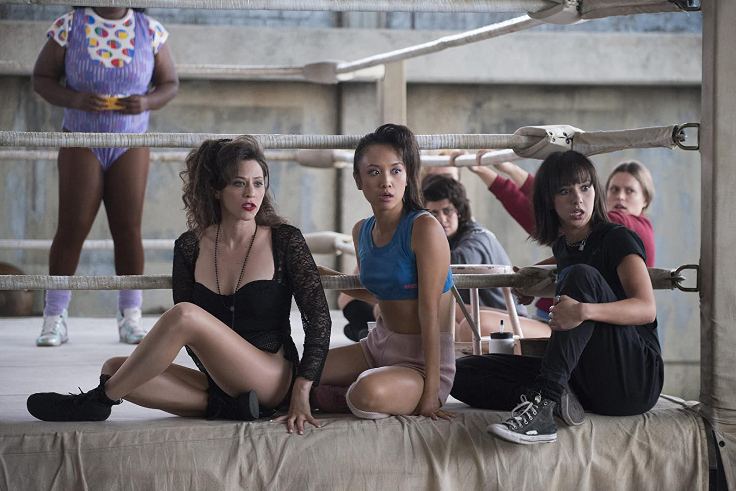 Jackie Tohn as Melrose on Glow. With Ellen Wong, Britt Baron, Mariana Palka & Rebekka Johnson.
