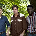 """Jacob Blair, Matt Ward and Billy Ray Cyrus on the set of """"Christmas in Canaan"""""""