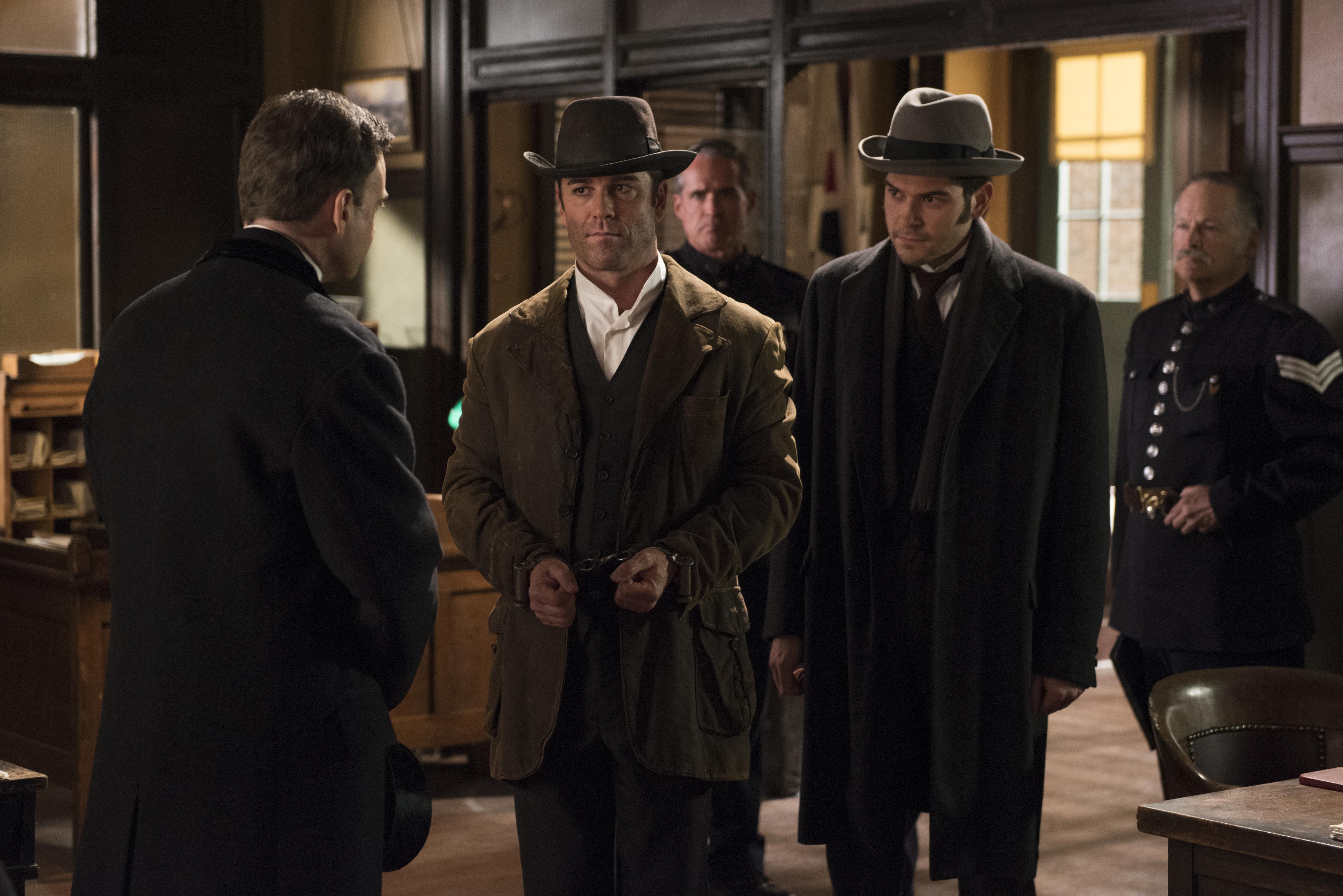 Yannick Bisson and Daniel Maslany in Murdoch Mysteries (2008)