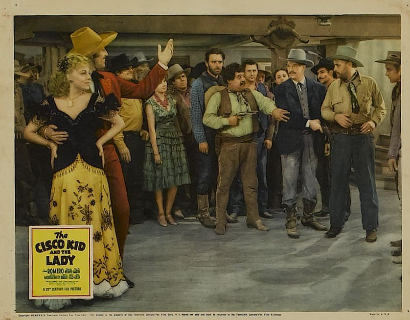 Cesar Romero, John Beach, Victor Cox, Virginia Field, Al Haskell, Chris-Pin Martin, and Artie Ortego in The Cisco Kid and the Lady (1939)