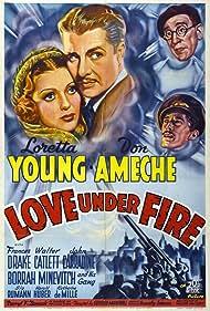Don Ameche, John Carradine, Walter Catlett, and Loretta Young in Love Under Fire (1937)