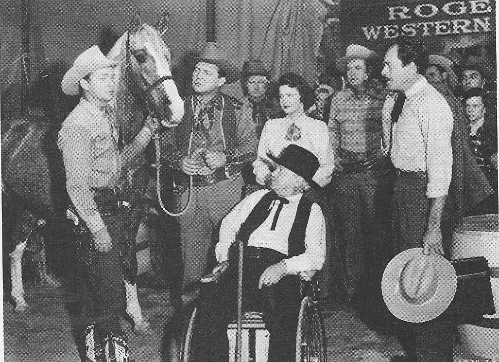 Roy Rogers, Pat Brady, George Cleveland, Dale Evans, I. Stanford Jolley, Gordon Jones, Foy Willing, and Trigger in Trigger, Jr. (1950)