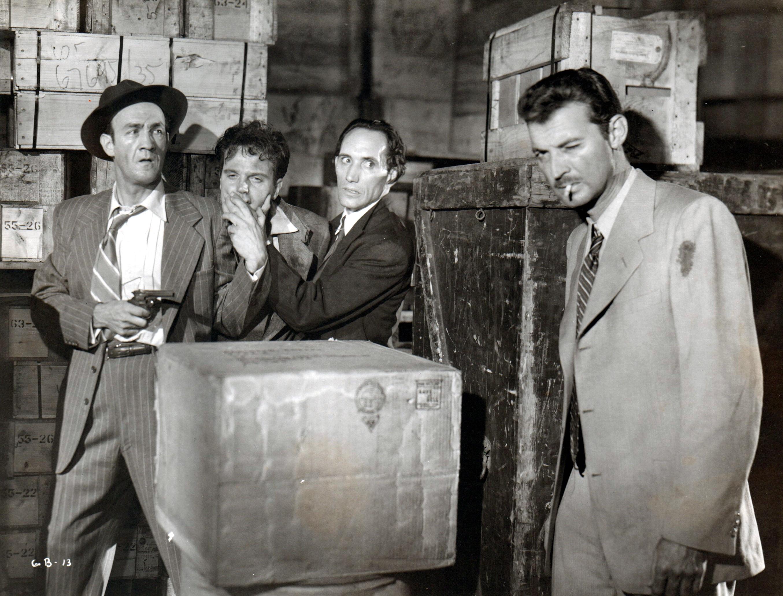 Ray Julian, Harry Landers, Zachary Scott, and Elliott Sullivan in Guilty Bystander (1950)