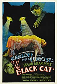 Boris Karloff, Bela Lugosi, Julie Bishop, and Harry Cording in The Black Cat (1934)