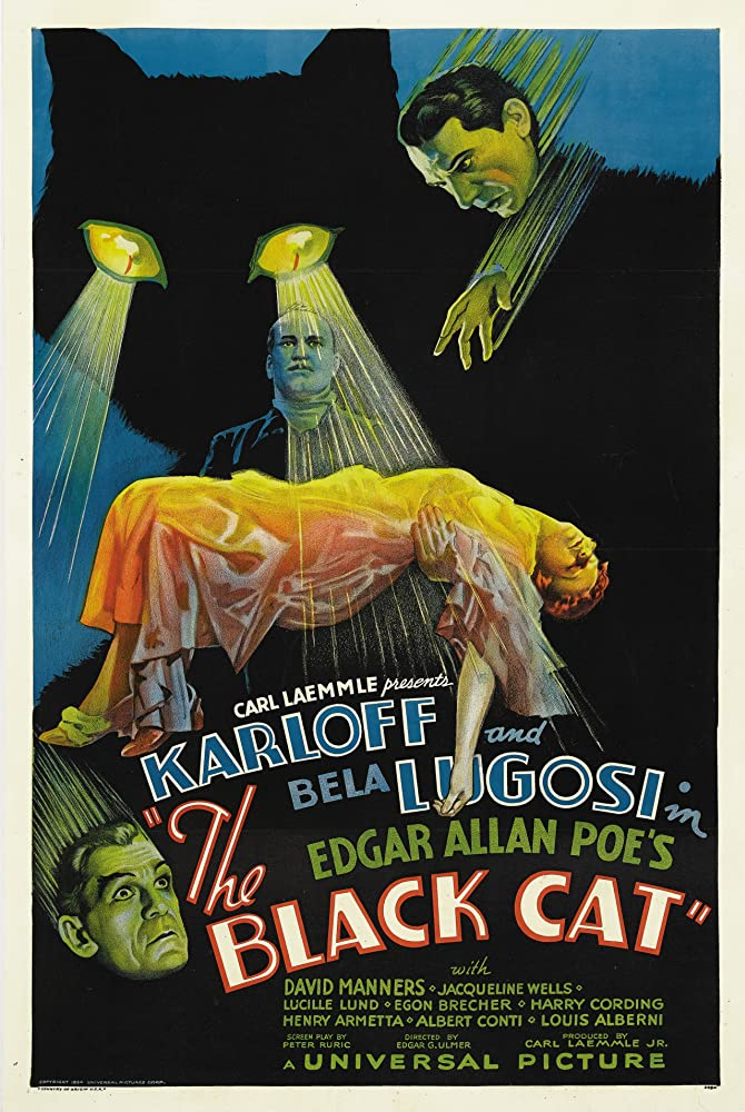 Boris Karloff, Bela Lugosi, and Julie Bishop in The Black Cat (1934)