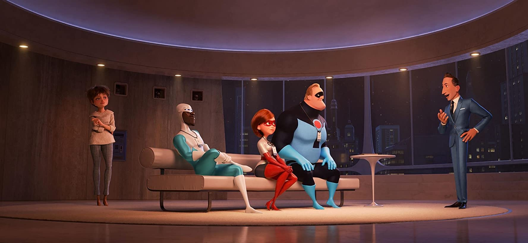 Samuel L. Jackson, Holly Hunter, Catherine Keener, Craig T. Nelson, and Bob Odenkirk in Incredibles 2 (2018)