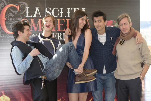 Francesco Mandelli, Daniela Virgilio, Fabrizio Biggio, and Tea Falco at an event for La solita commedia: Inferno (2015)