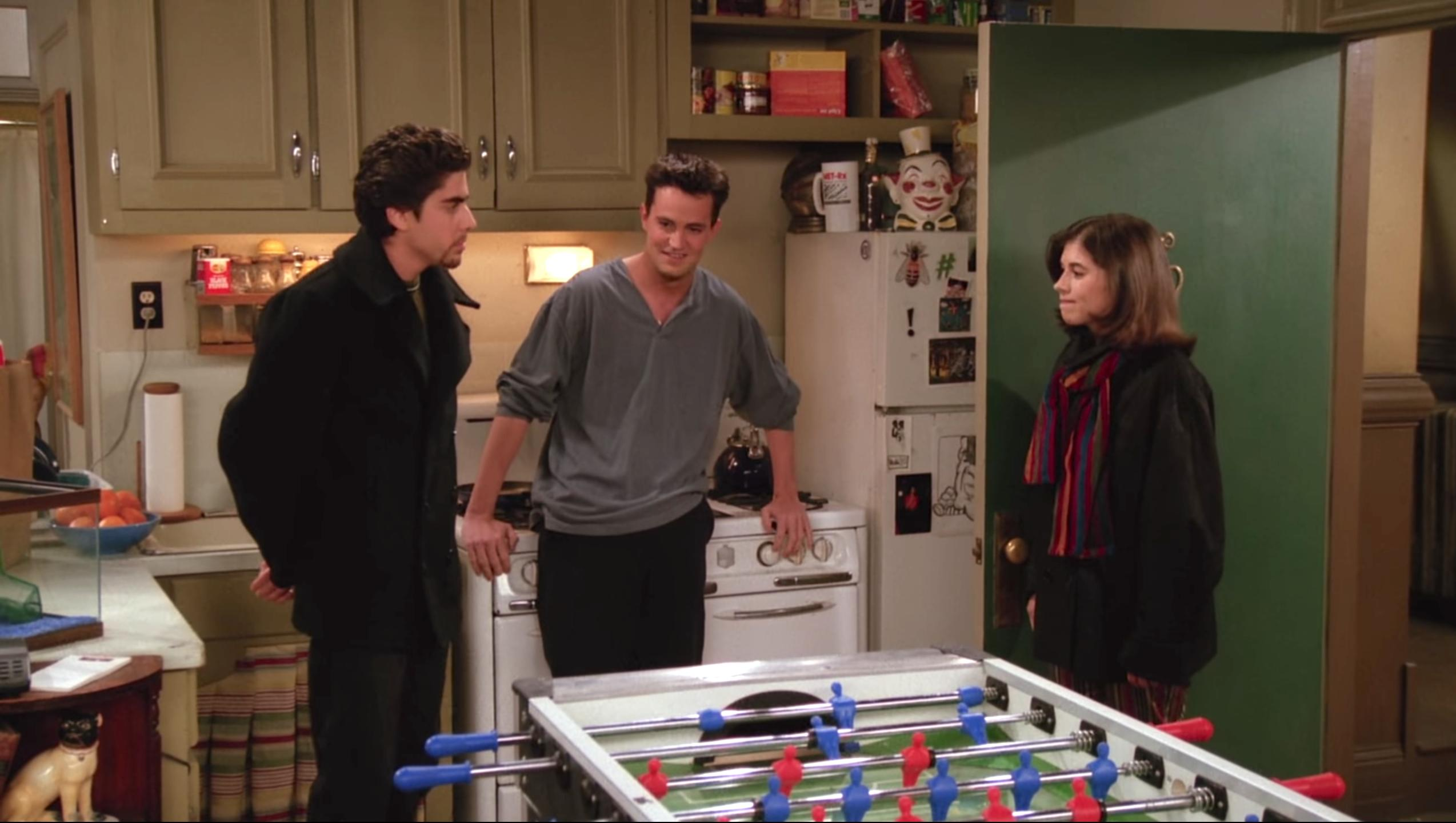 Matthew Perry, Adam Goldberg, and Mary Gallagher in Friends (1994)