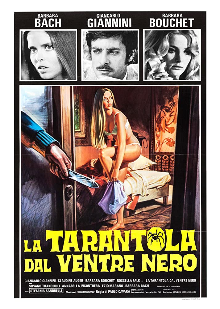 Barbara Bach, Barbara Bouchet, and Giancarlo Giannini in La tarantola dal ventre nero (1971)