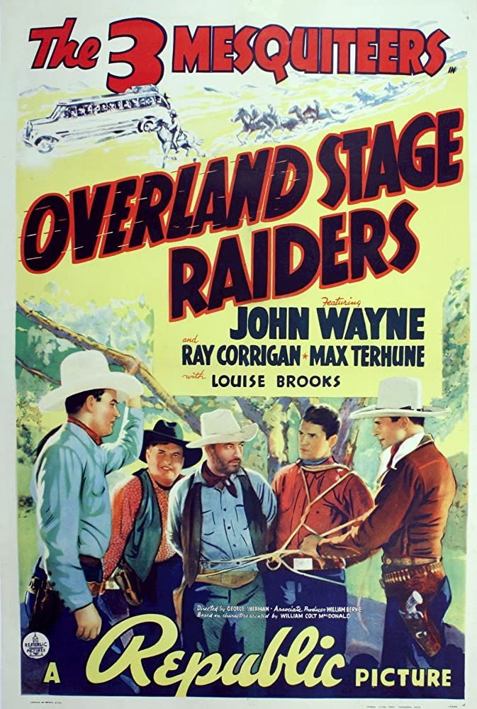 John Wayne, Ray Corrigan, Olin Francis, George Plues, and Max Terhune in Overland Stage Raiders (1938)