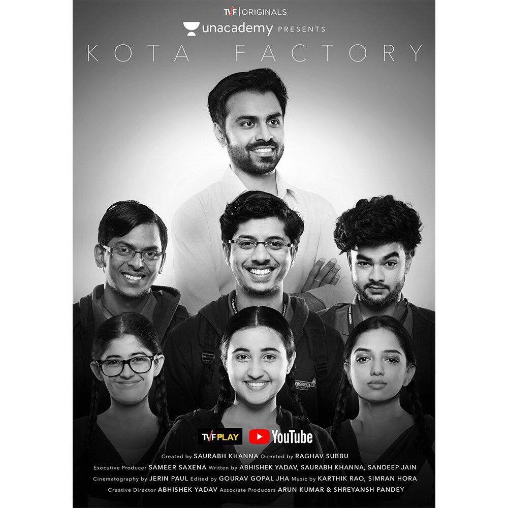 Urvi Singh, Ahsaas Channa, Ranjan Raj, Jitendra Kumar, Alam Khan, Mayur More, and Revathi Pillai in Kota Factory (2019)