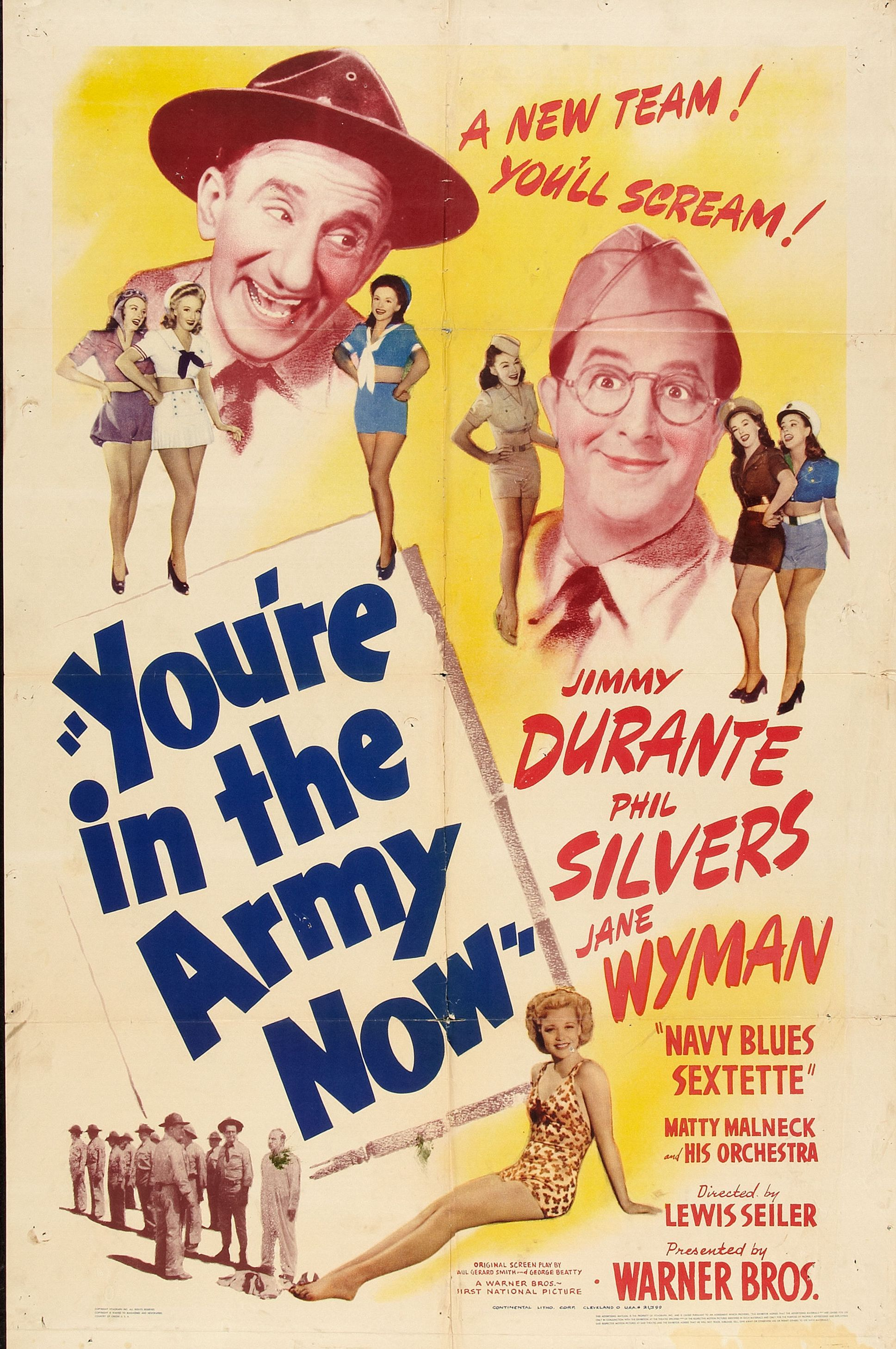 Jimmy Durante, Kay Aldridge, Leslie Brooks, Georgia Carroll, Marguerite Chapman, Peggy Diggins, Phil Silvers, Alix Talton, Jane Wyman, and Navy Blues Sextette in You're in the Army Now (1941)