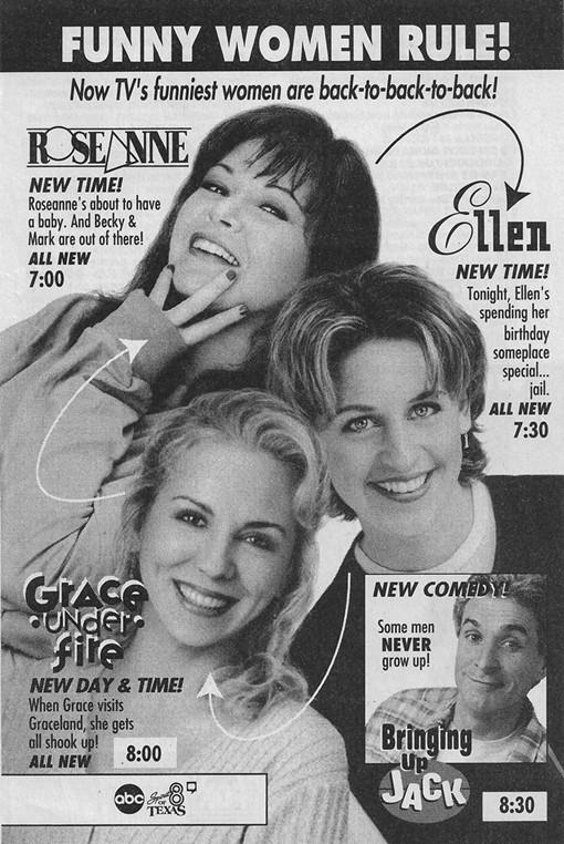 Ellen DeGeneres, Roseanne Barr, Brett Butler, and Jack Gallagher in Roseanne (1988)