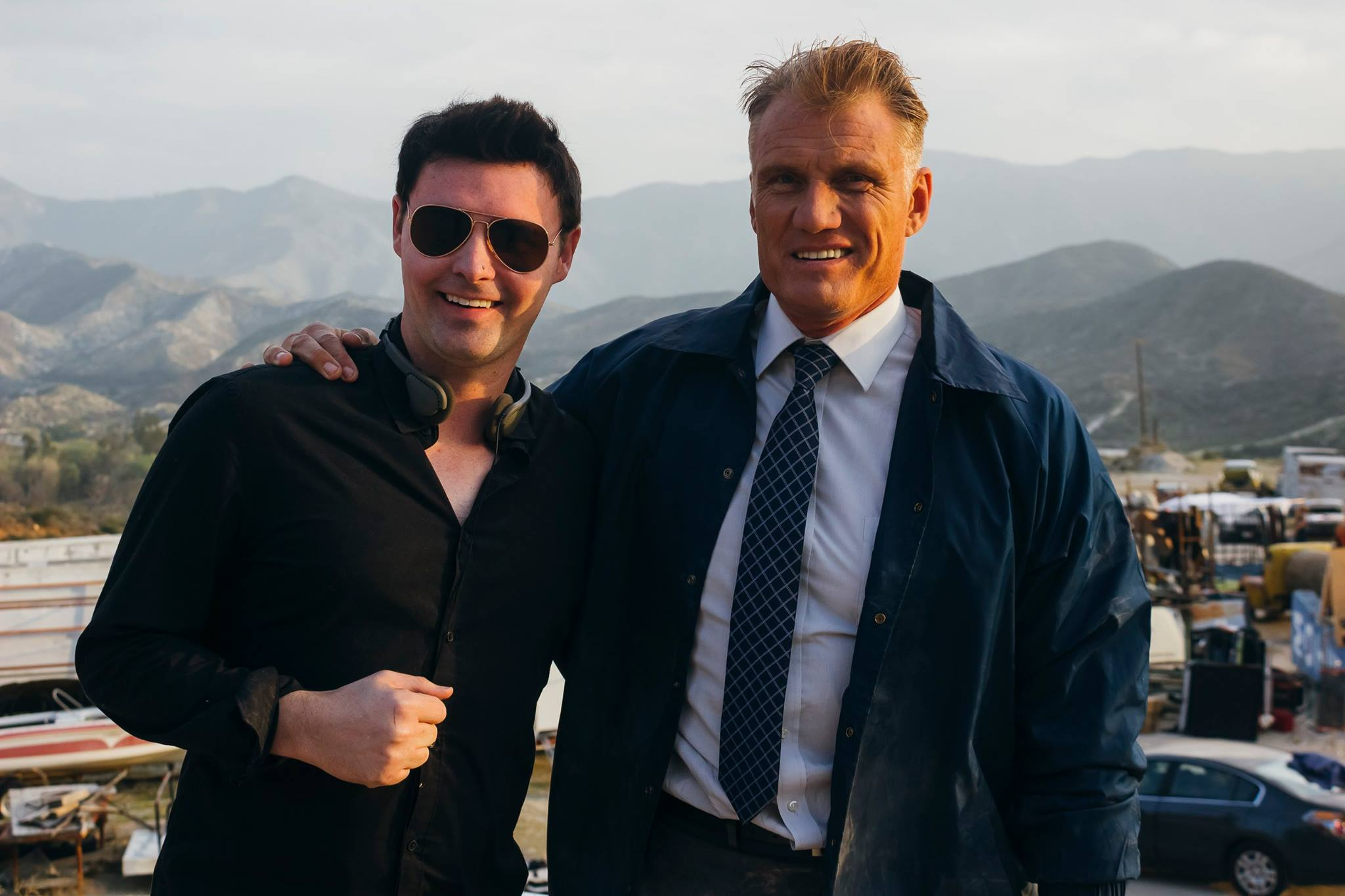 Timothy Woodward Jr and Dolph Lundgren on the set of 4GOT10