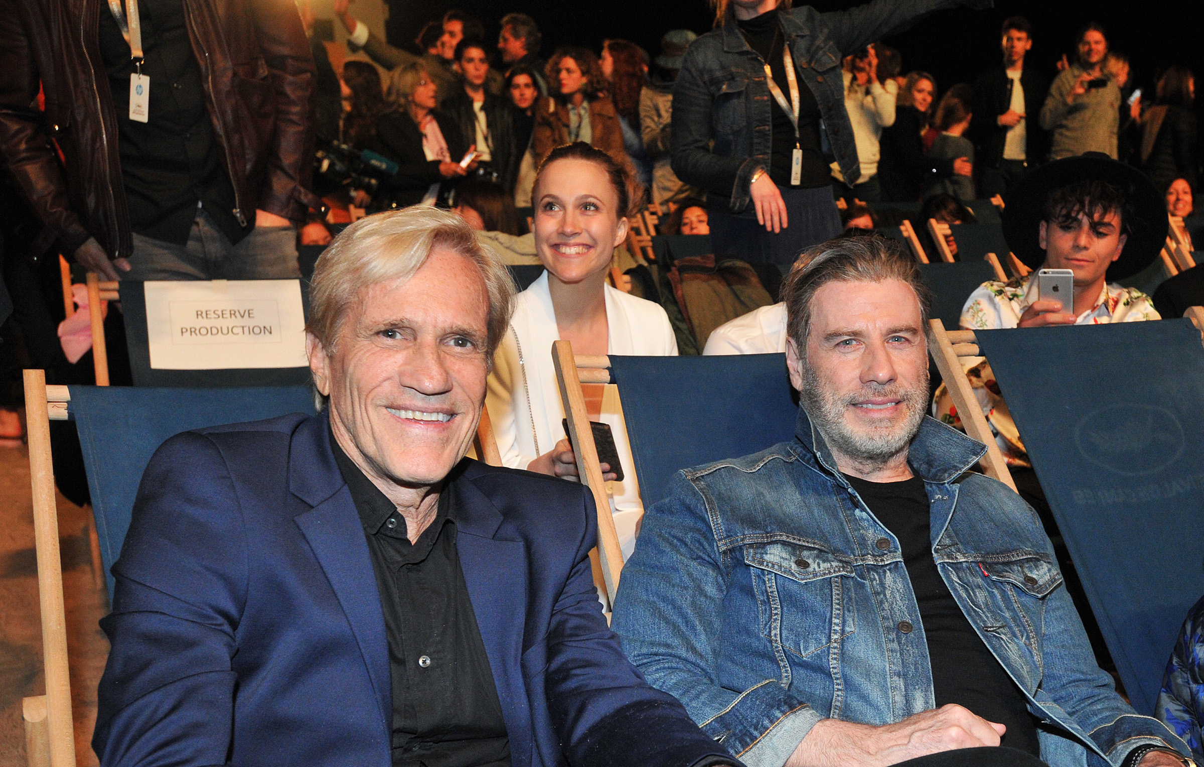 John Travolta and Randal Kleiser at an event for Grease (1978)