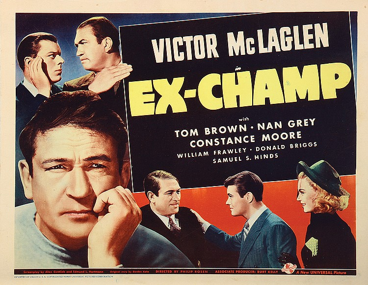 Donald Briggs, Tom Brown, Nan Grey, and Victor McLaglen in Ex-Champ (1939)