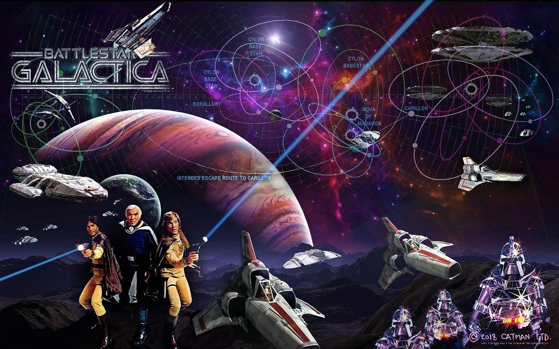 Lorne Greene, Dirk Benedict, and Richard Hatch in Battlestar Galactica (1978)