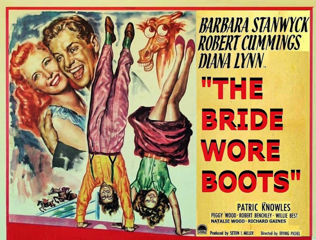 Barbara Stanwyck and Robert Cummings in The Bride Wore Boots (1946)