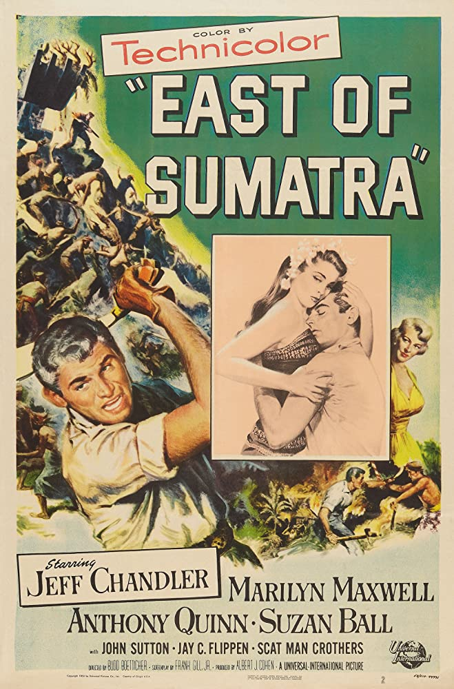 Jeff Chandler, Suzan Ball, and Marilyn Maxwell in East of Sumatra (1953)