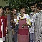 Michalis Reppas, Rena Vlahopoulou, Dimitris Frangioglou, Johnny Theodoridis, Eleni Kefalopoulou, and Stavrina Prevedorou in Orma Rena stin arena (1988)