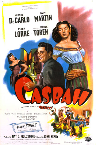 Yvonne De Carlo, Tony Martin, and Märta Torén in Casbah (1948)