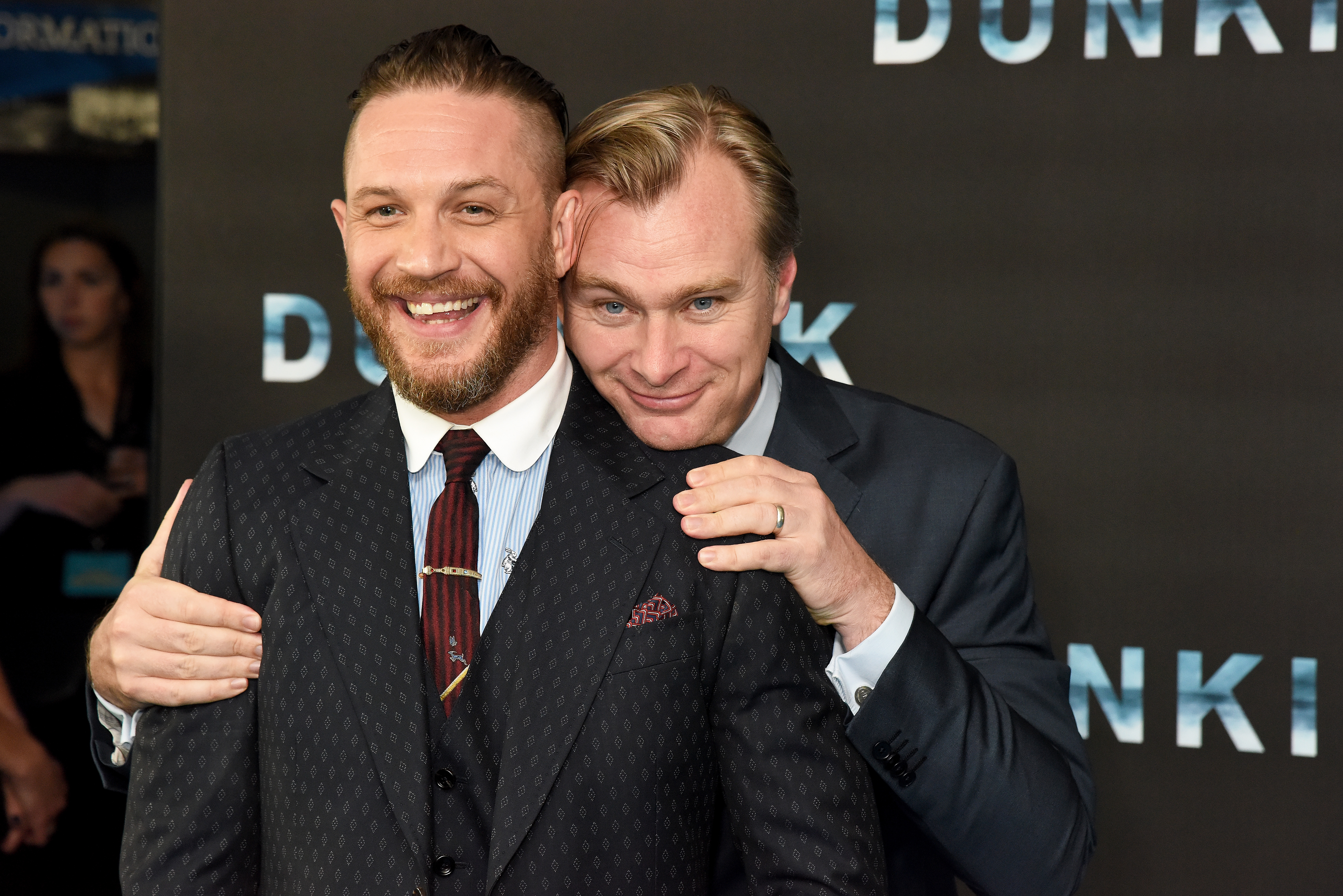 Tom Hardy and Christopher Nolan at an event for Dunkirk (2017)