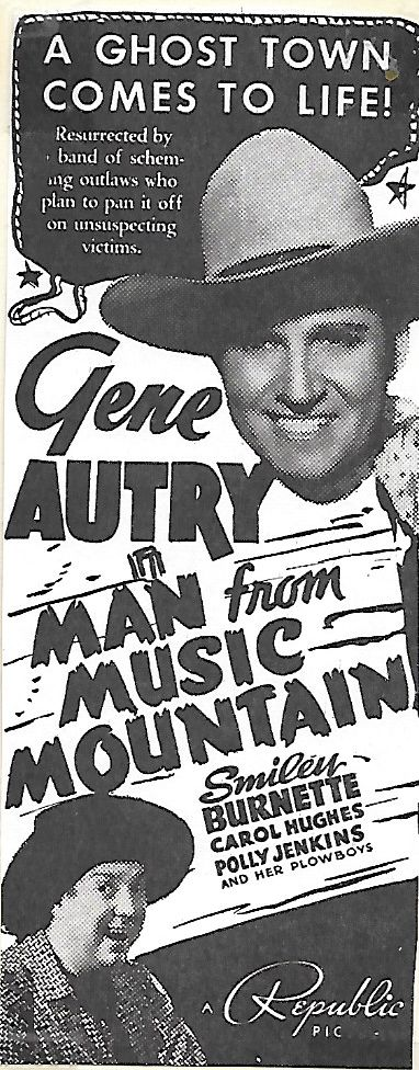 Gene Autry, Smiley Burnette, and Sally Payne in Man from Music Mountain (1938)