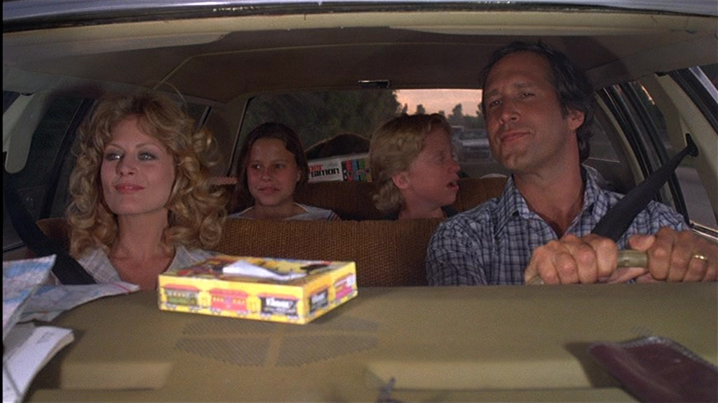 Chevy Chase, Beverly D'Angelo, Anthony Michael Hall, and Dana Barron in National Lampoon's Vacation (1983)