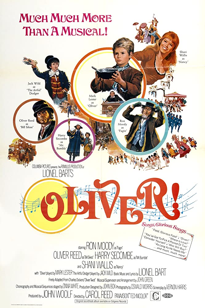 Oliver Reed, Mark Lester, Ron Moody, Harry Secombe, Shani Wallis, and Jack Wild in Oliver! (1968)