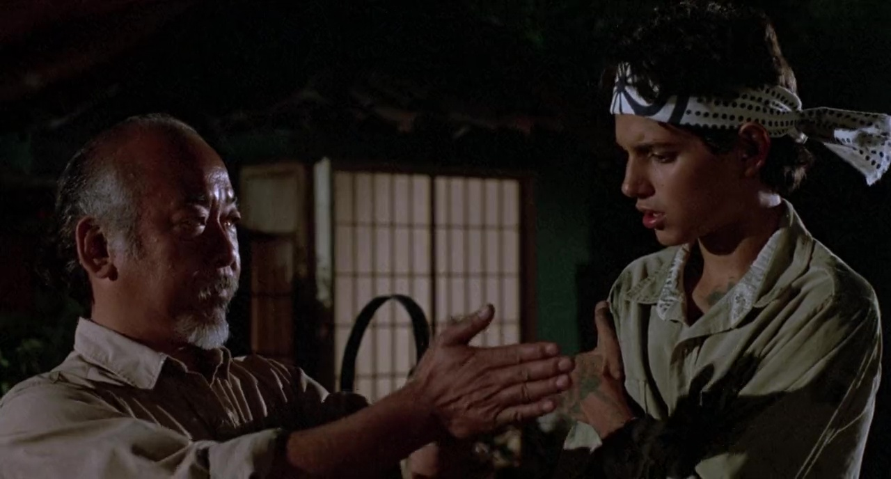 Ralph Macchio and Pat Morita in The Karate Kid (1984)