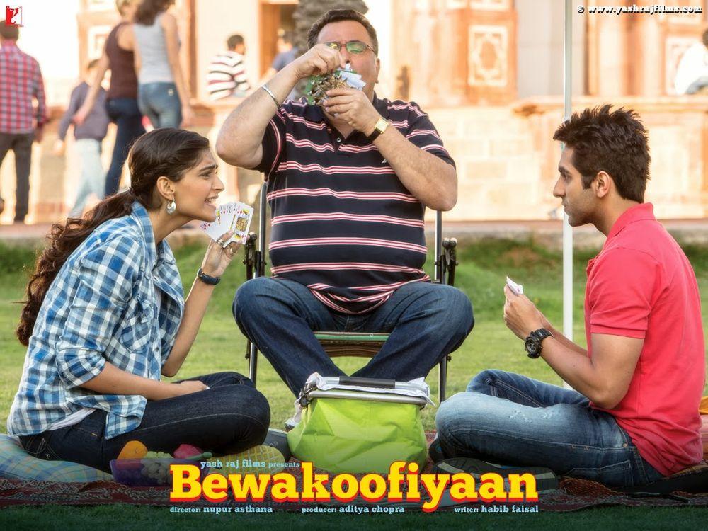 Rishi Kapoor, Sonam Kapoor, and Ayushmann Khurrana in Bewakoofiyaan (2014)