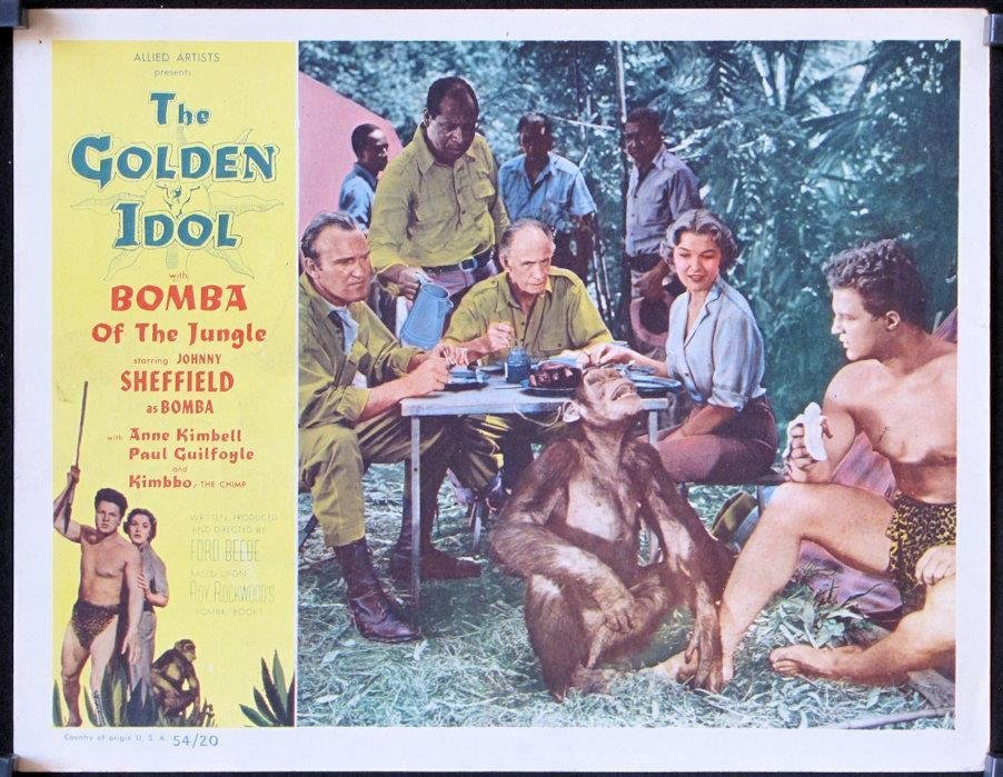 Lane Bradford, Anne Kimbell, Leonard Mudie, Johnny Sheffield, and Smoki Whitfield in The Golden Idol (1954)