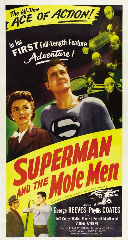 George Reeves, John T. Bambury, Phyllis Coates, Jeff Corey, Billy Curtis, Jerry Maren, and Johnny Roventini in Superman and the Mole-Men (1951)