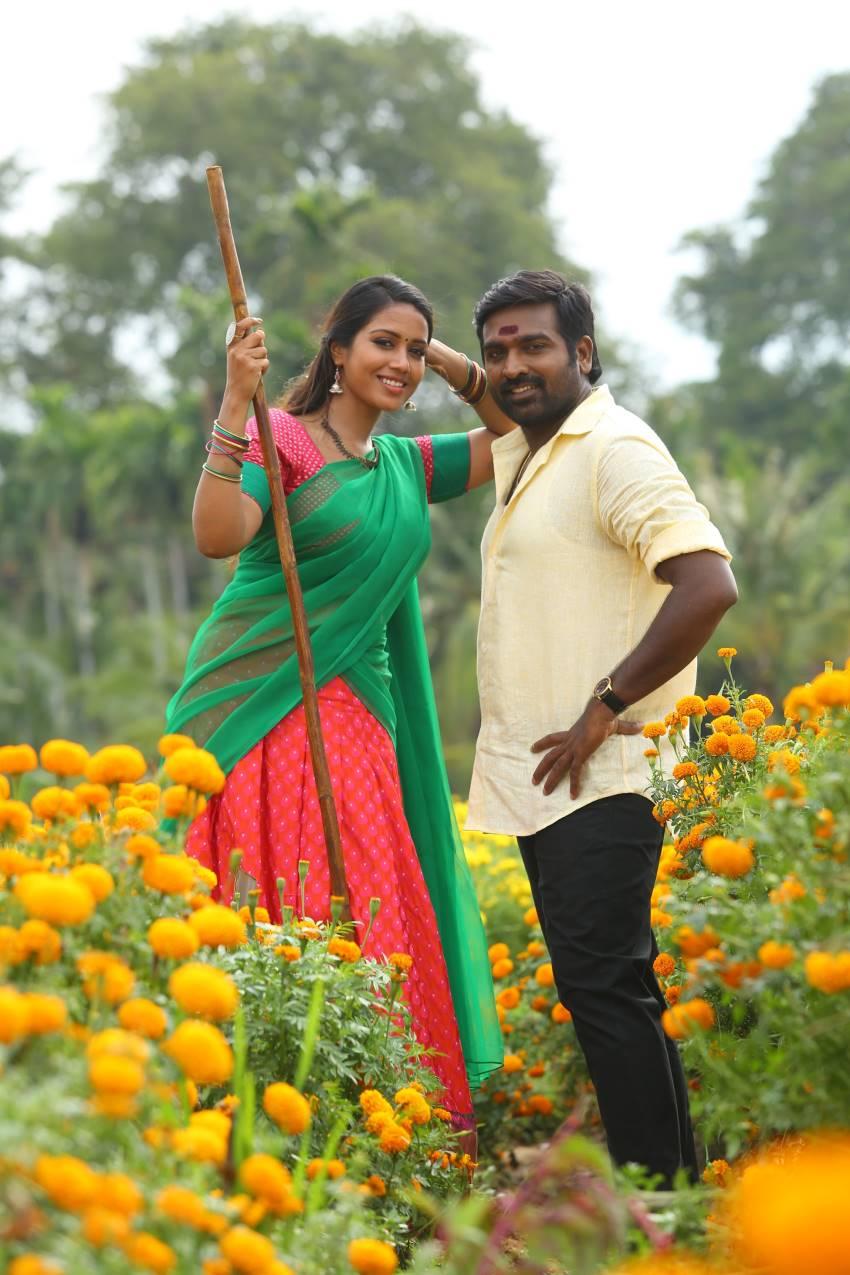 Vijay Sethupathi and Nivetha Pethuraj in Sanga Thamizhan (2019)