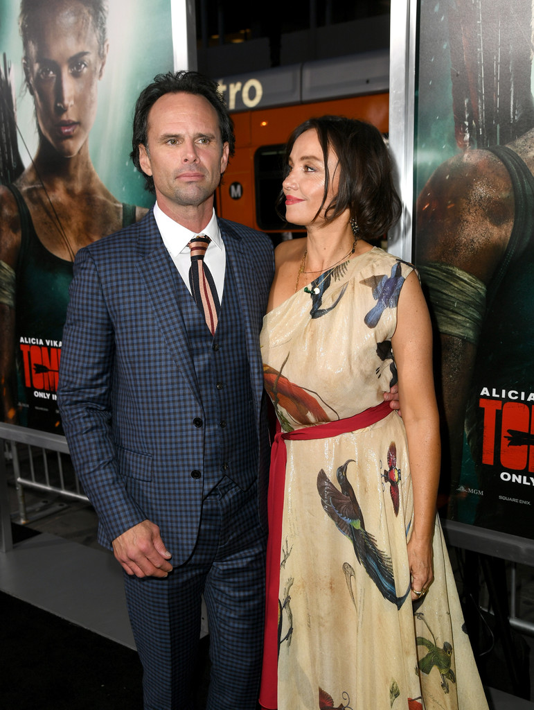 Walton Goggins and Nadia Conners at an event for Tomb Raider (2018)