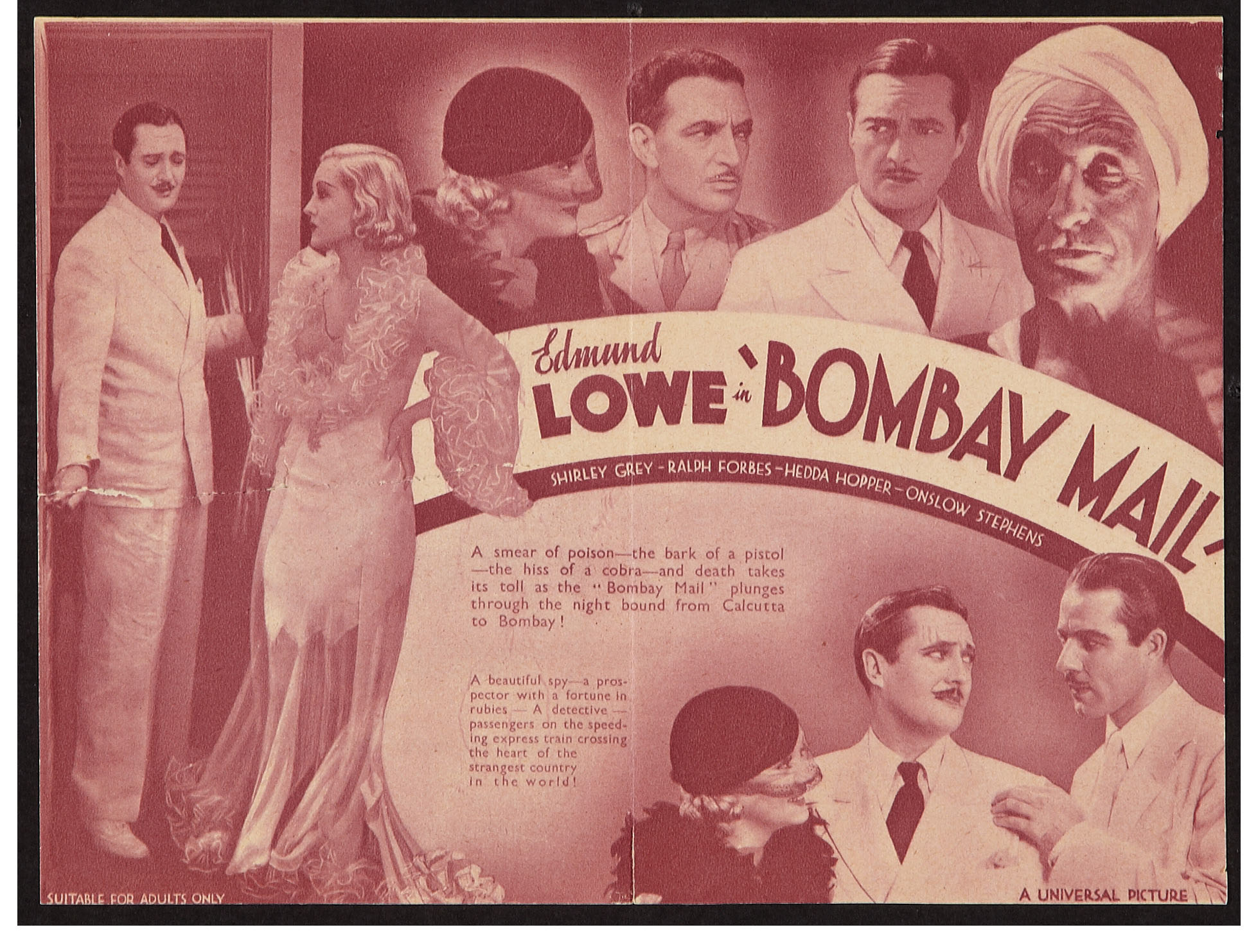 Ralph Forbes, Shirley Grey, Brandon Hurst, and Edmund Lowe in Bombay Mail (1934)