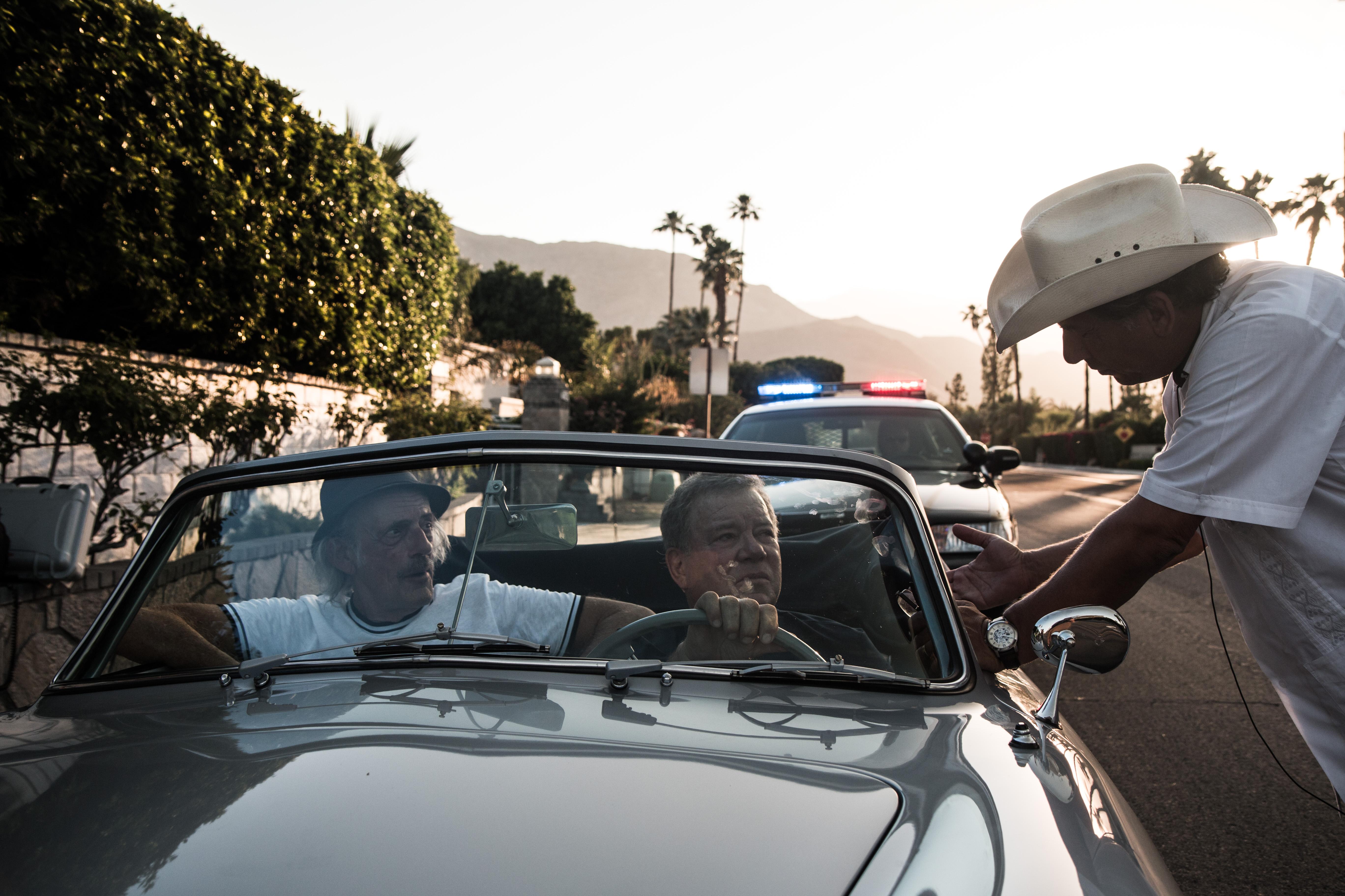 "Christopher Lloyd, William Shatner and Giorgio Serafini on the set of ""Senior Moment"""