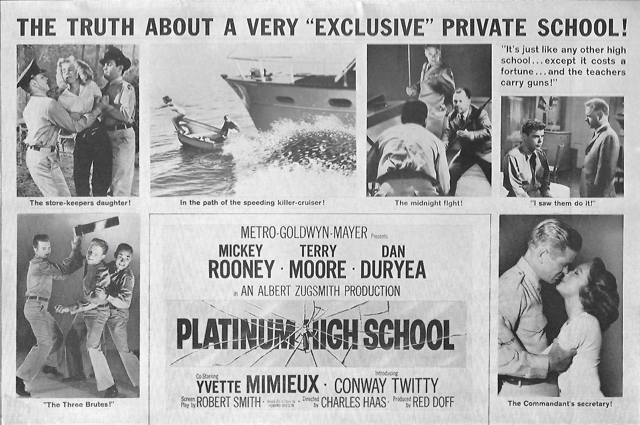 Mickey Rooney, Dan Duryea, Jimmy Boyd, Harold Lloyd Jr., and Conway Twitty in Platinum High School (1960)