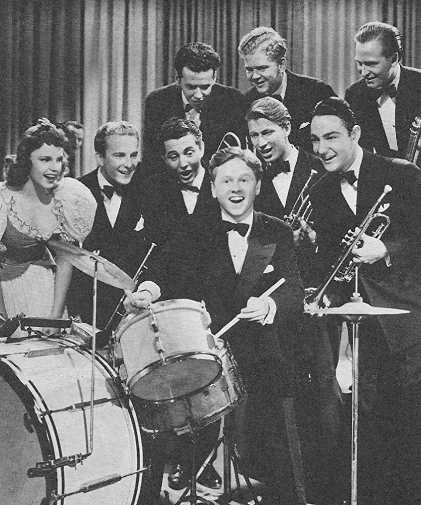 Judy Garland, Mickey Rooney, Harry McCrillis, Dick Paxton, and Leonard Sues in Strike Up the Band (1940)
