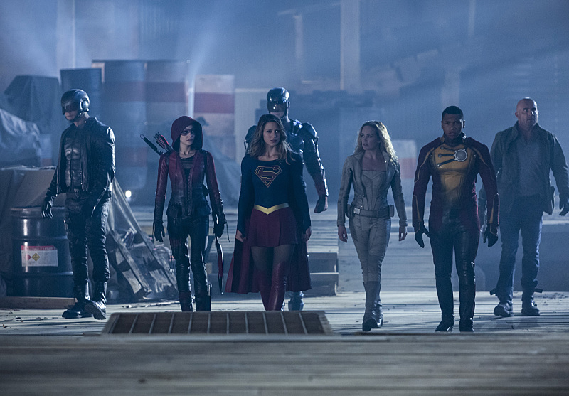 Dominic Purcell, David Ramsey, Brandon Routh, Willa Holland, Caity Lotz, Melissa Benoist, and Franz Drameh in The Flash (2014)