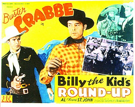 Buster Crabbe, Kenne Duncan, Charles King, Al St. John, Glenn Strange, Wally West, and Carleton Young in Billy the Kid's Round-Up (1941)