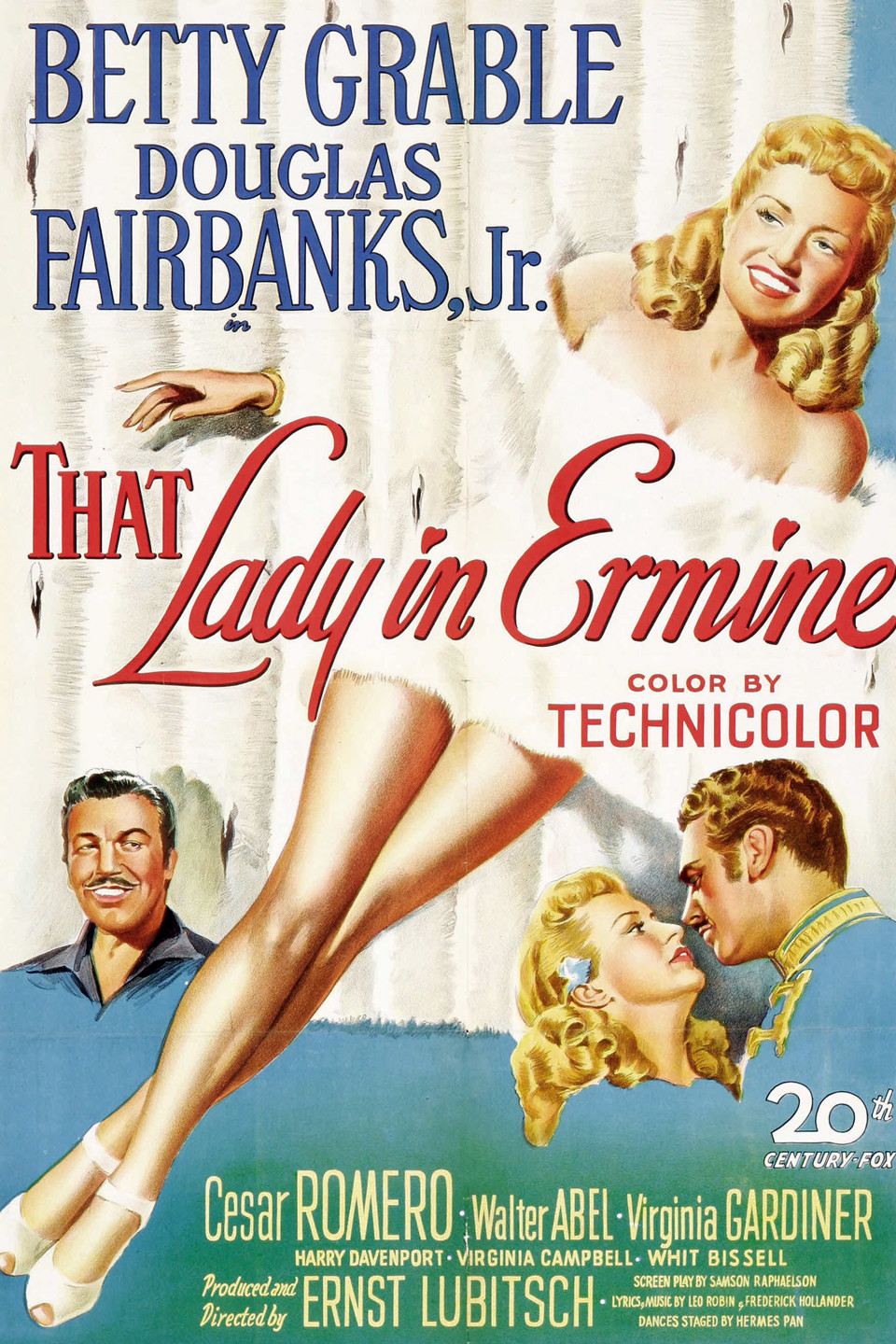 Douglas Fairbanks Jr., Betty Grable, and Cesar Romero in That Lady in Ermine (1948)