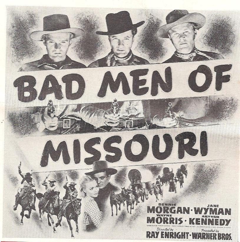 Arthur Kennedy, Dennis Morgan, Wayne Morris, and Jane Wyman in Bad Men of Missouri (1941)