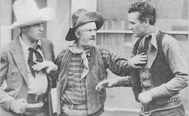 John Wayne, George 'Gabby' Hayes, and LeRoy Mason in Rainbow Valley (1935)