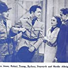 Barbara Stanwyck, Robert Young, Hardie Albright, and Gordon Jones in Red Salute (1935)