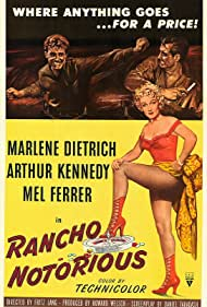 Marlene Dietrich, Mel Ferrer, and Arthur Kennedy in Rancho Notorious (1952)