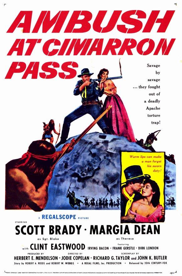Scott Brady and Margia Dean in Ambush at Cimarron Pass (1958)