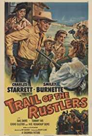 Smiley Burnette, Eddie Cletro, Gail Davis, Tommy Ivo, Mira McKinney, Charles Starrett, and The Roundup Boys in Trail of the Rustlers (1950)