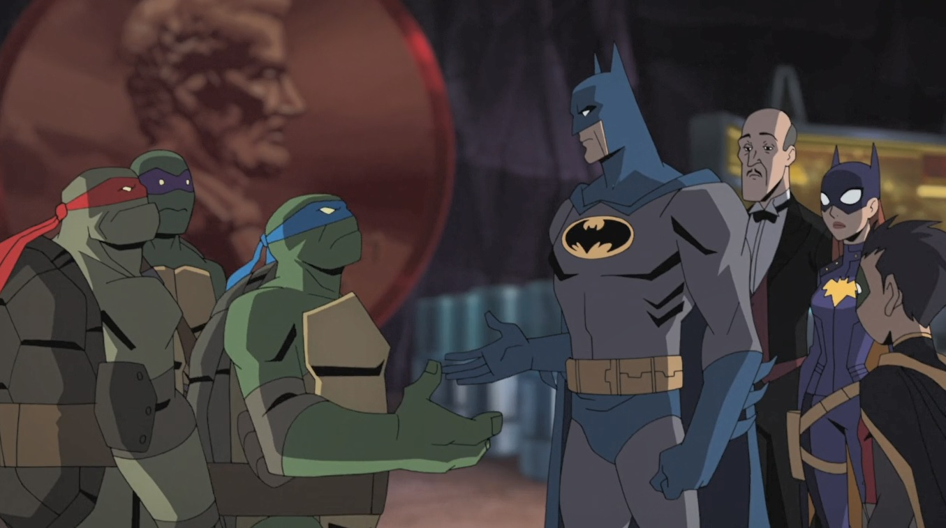 Brian George, Eric Bauza, Troy Baker, Ben Giroux, Darren Criss, Baron Vaughn, and Rachel Bloom in Batman vs. Teenage Mutant Ninja Turtles (2019)