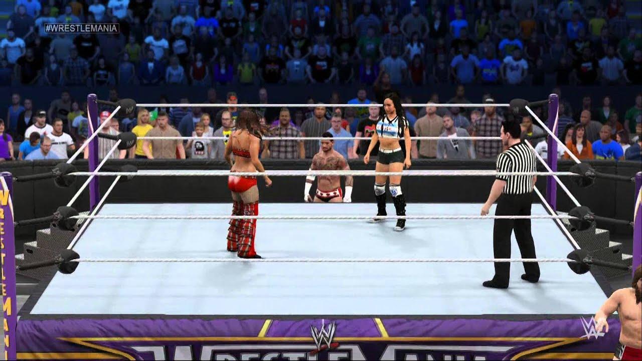 Bryan Danielson, C.M. Punk, Brie Bella, and A.J. Mendez in WWE 2K15 (2014)